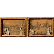 Pair of English Shadow Box Print Dioramas circa 1860-1880