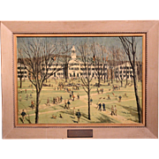 Paul Sample Presentation Print of Dartmouth College to NH Governor Francis Murphy 1956