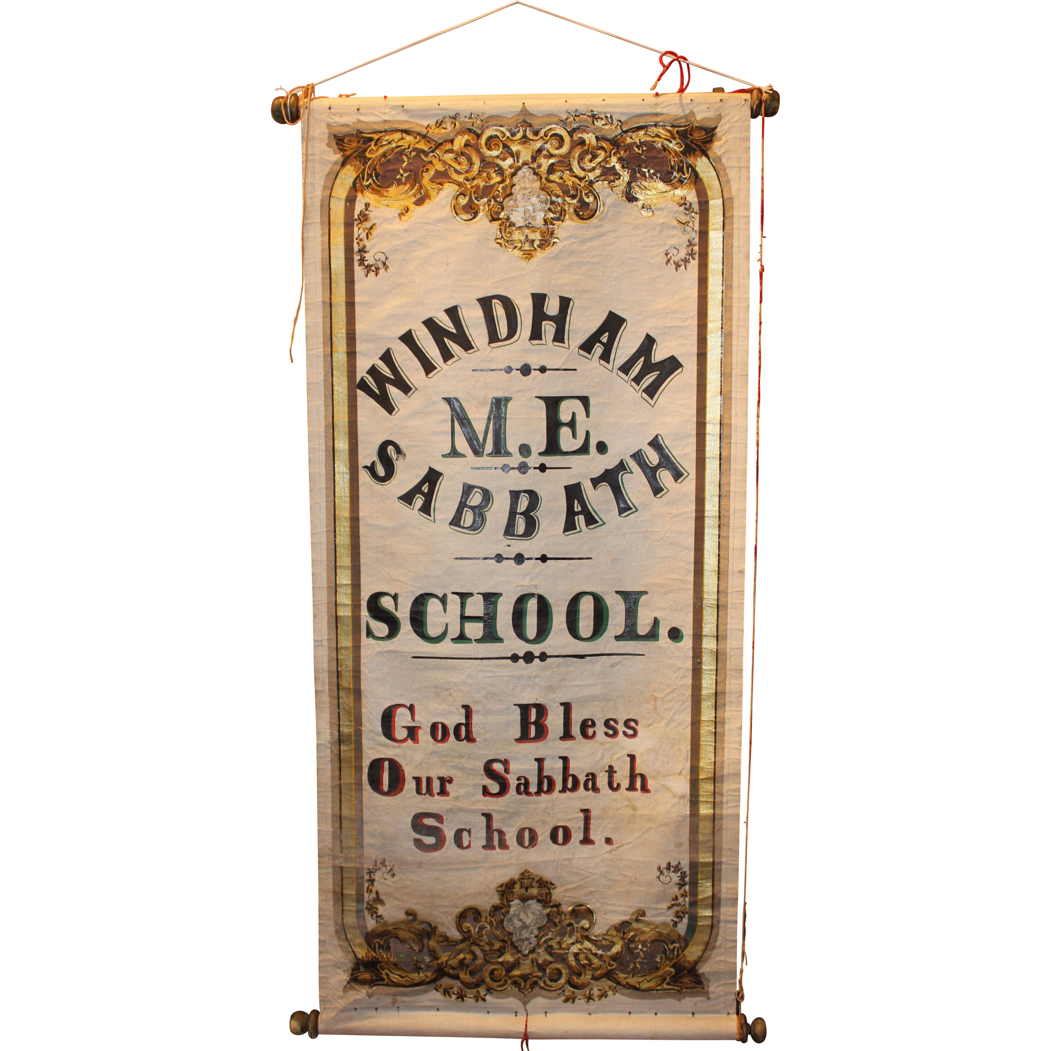 19th c Hand Painted Sabbath School Advertising Scroll Sign Windham Maine