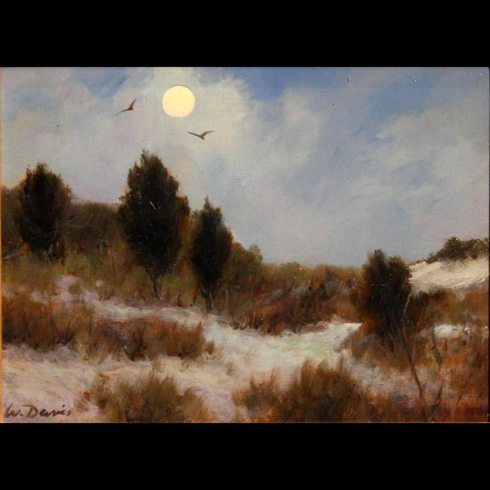 William R. Davis Landscape Oil Painting - Moonlight Dunes