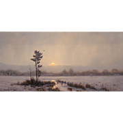 William R. Davis Landscape Oil Painting - Light Snow Over The Marsh