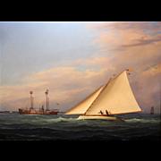 William R. Davis Exceptional Marine Oil Painting - Pilot Whales!