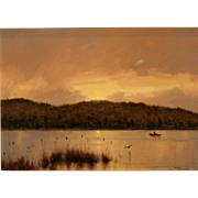 William R. Davis Sporting Landscape Oil Painting - Late Hour Fishing