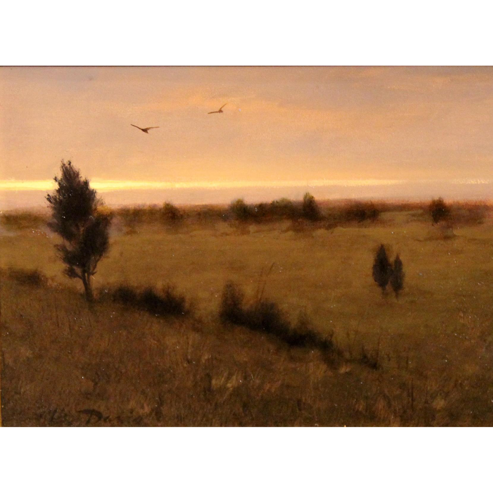 William R. Davis Landscape Oil Painting - Cedars & Crows