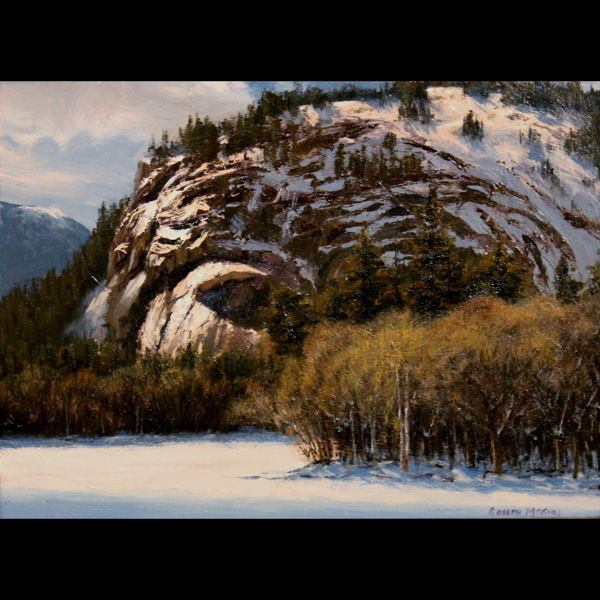 Joseph McGurl White Mountain Oil Painting - Plein Air Sketch for Warm Winter Sun NH