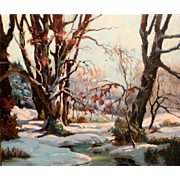 Chester Van Nortwick Oil Painting Winter Landscape