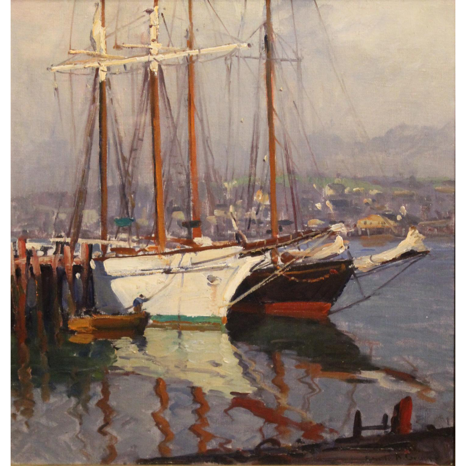 Emile Albert Gruppe Marine Oil Painting - Harbor Scene