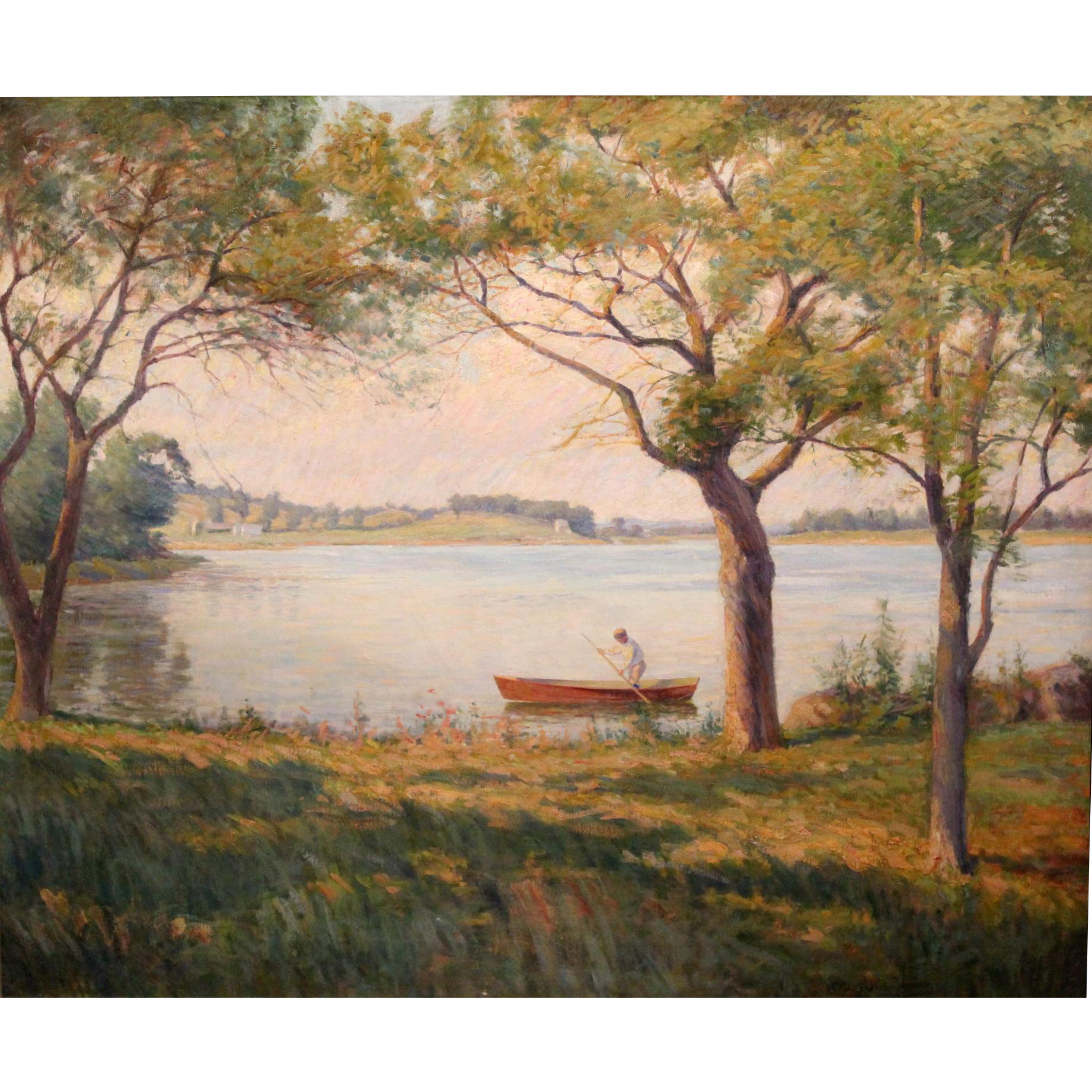 Edward Reynolds Kingsbury Oil Painting - The Lone Boater, Summer Afternoon