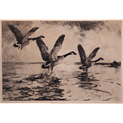 Frank Weston Benson Pencil Signed Print of an Etching - Canada Geese Flying