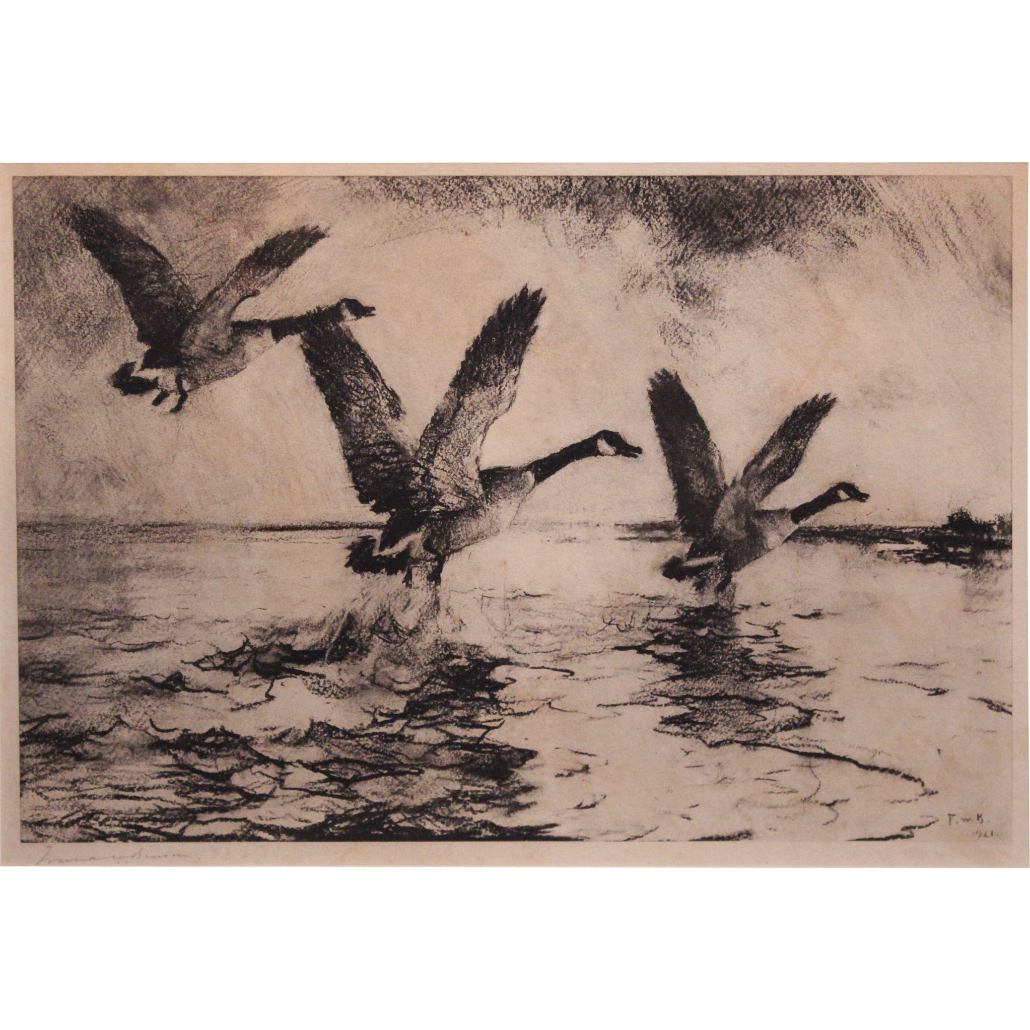 Frank Weston Benson Pencil Signed Etching - Canada Geese Flying