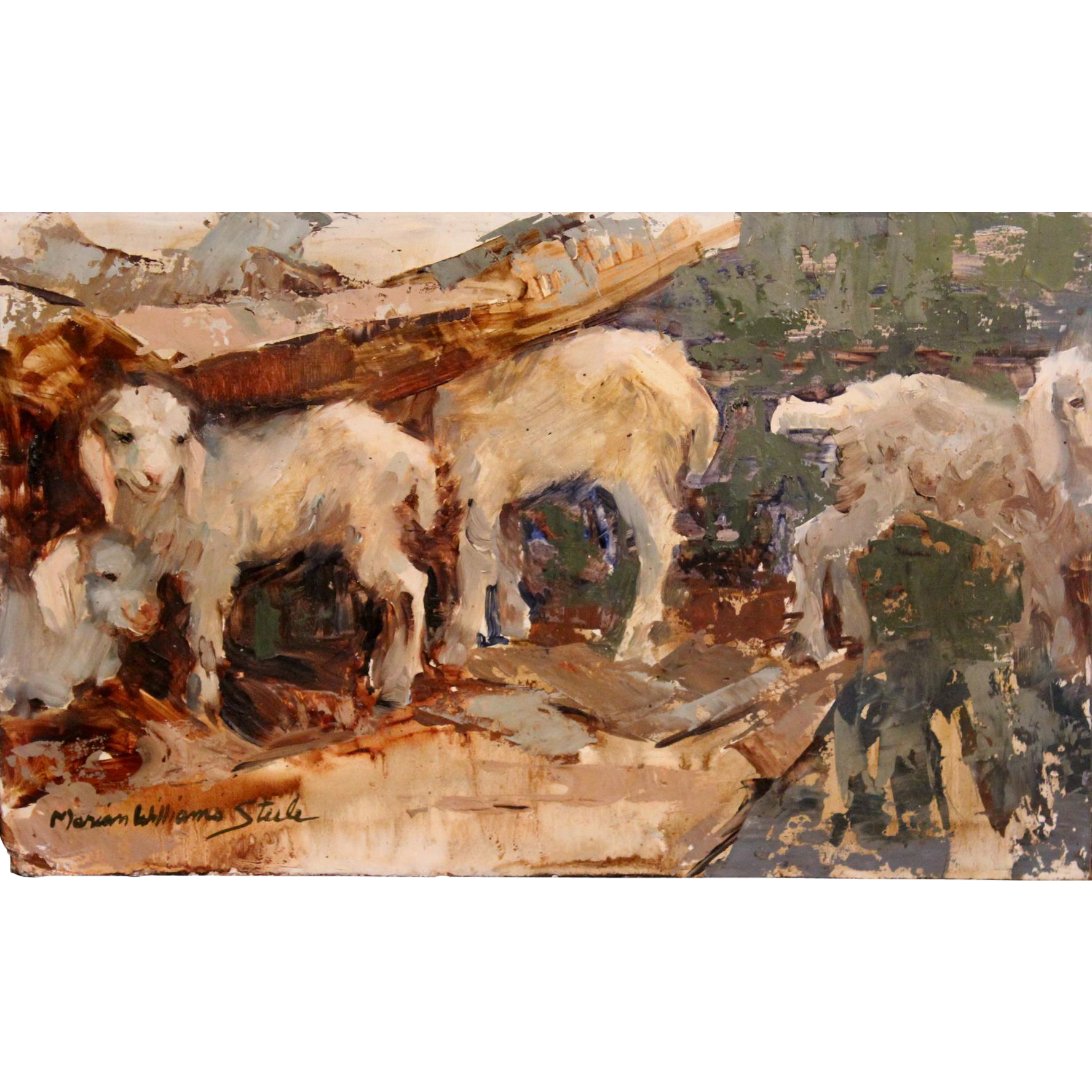 Marian Williams Steele Impressionist Oil Painting of Lambs or Sheep