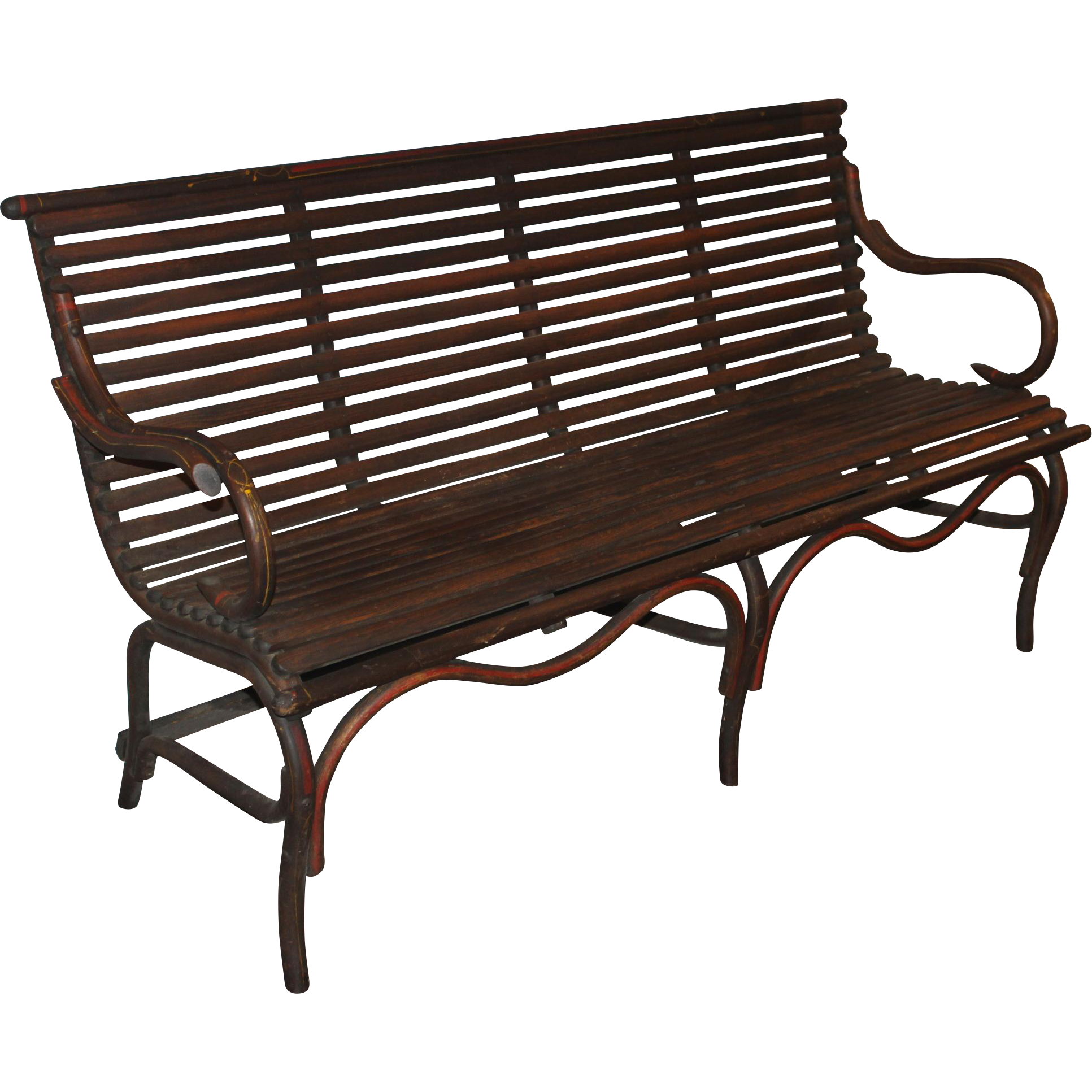 Late 19th c Bentwood Bench with Rare Original Stenciling
