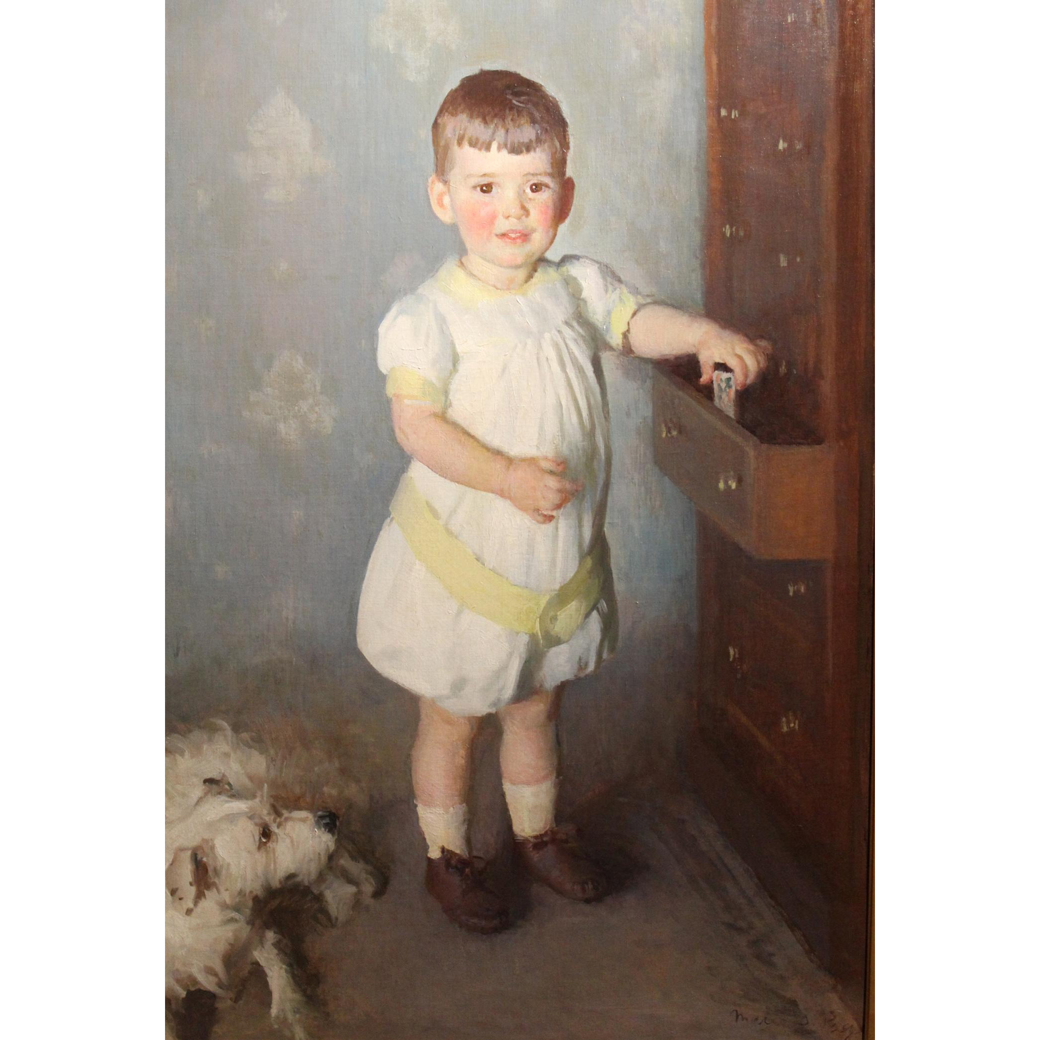 Marie Danforth Page Portrait Oil Painting - Little Boy with His Dog, 1918