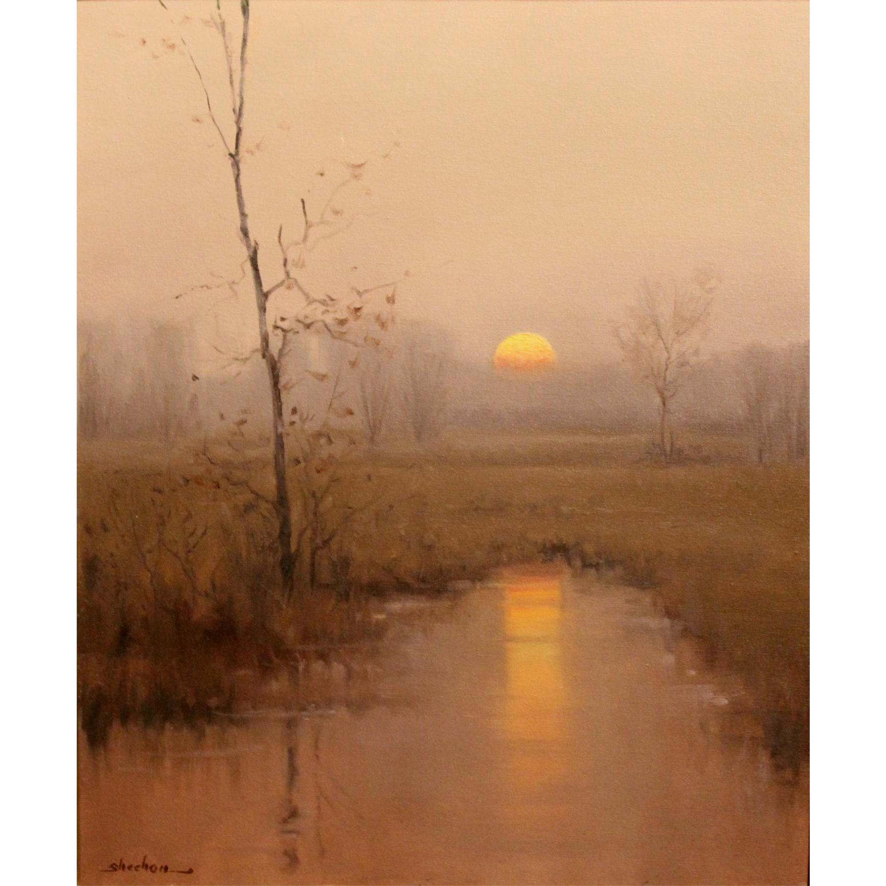 Dennis Sheehan Tonalist Landscape Oil Painting - Sunrise