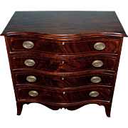 19th c Diminutive Serpentine Mahogany Four Drawer Chest