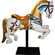 Restored Polychrome Wooden Carved Carousel Horse from NH Seacoast Circa 1890