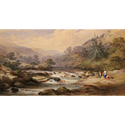 Charles Frederick Buckley Landscape Watercolor Painting - Bickleigh Vale Devonshire