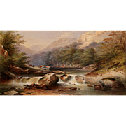 Charles Frederick Buckley Landscape Watercolor Painting with Cattle Near the River