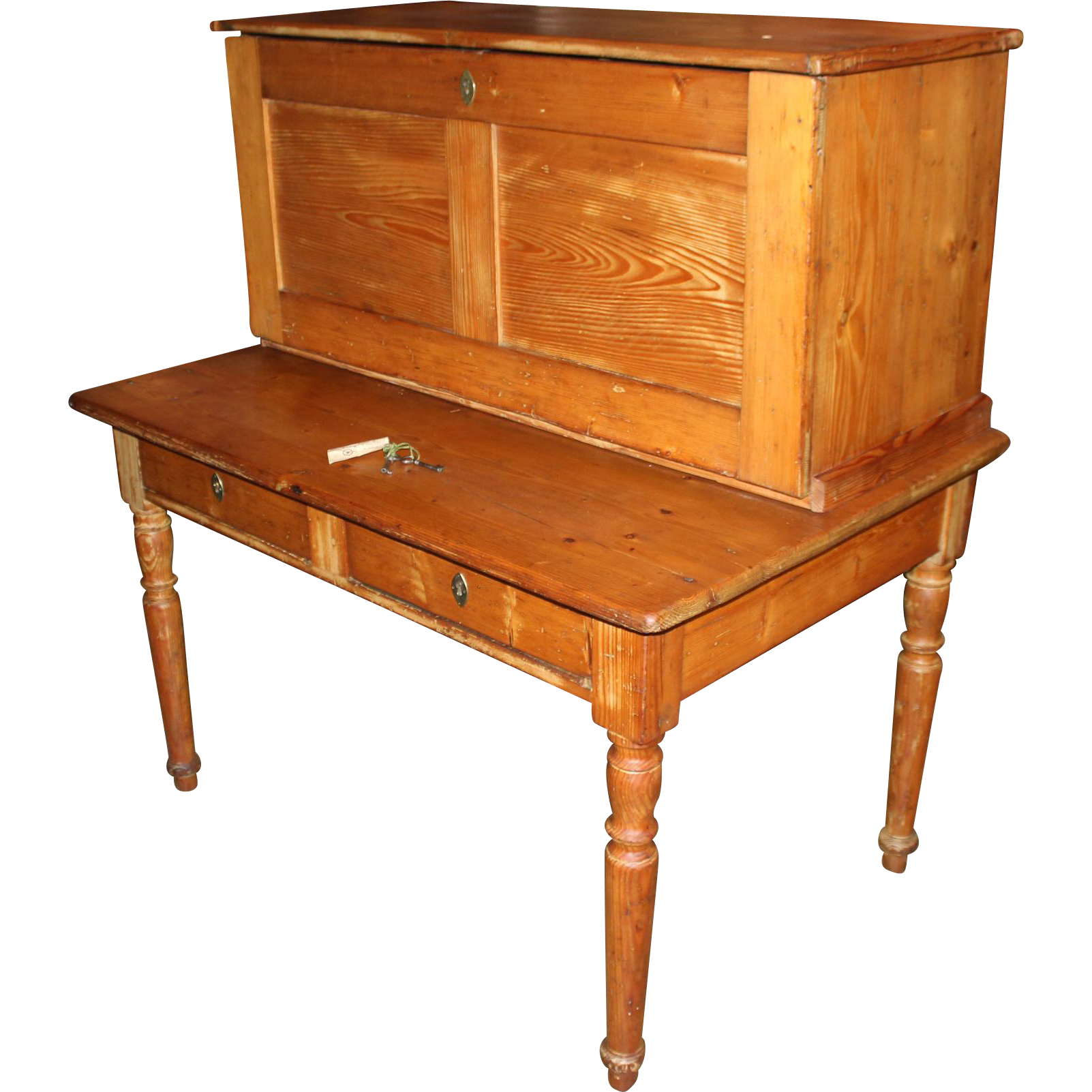 19th c Southern German Pine Two Part Postmaster's Desk with Safe