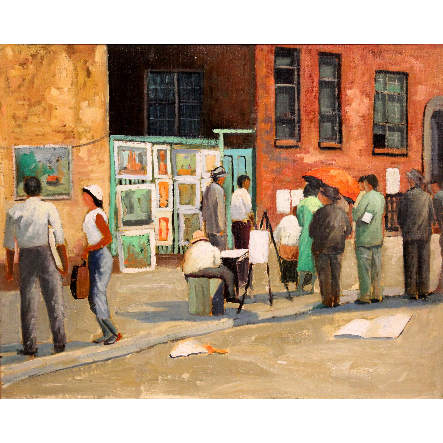 Elmer Schwab Impressionist Oil Painting of Artists On the Street