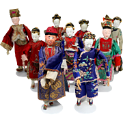 Set of 9 Early 20th c Chinese Opera Dolls with Decorated Silk Costumes