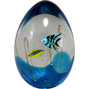 Murano Signed Art Glass Aquarium Sculpture with Fish by Elio Raffaeli