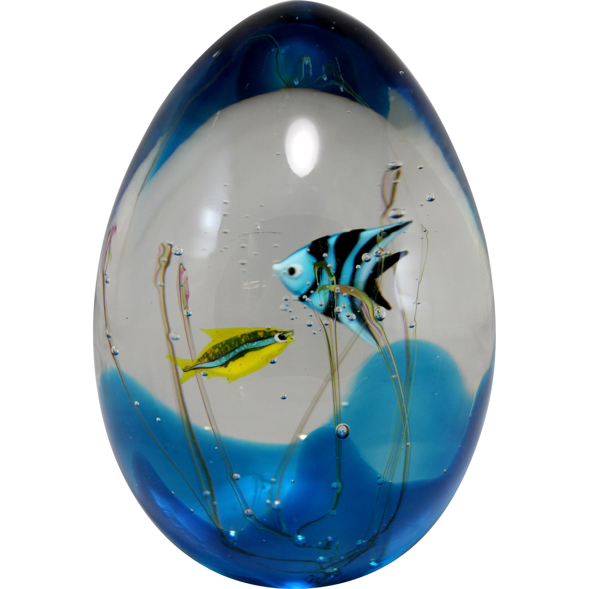 murano signed art glass aquarium sculpture with fish by. Black Bedroom Furniture Sets. Home Design Ideas