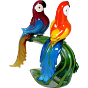 Murano Art Glass Sculpture of a Pair of Parrots Signed Cammozzo