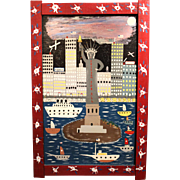 "Binford Taylor ""Benny"" Carter Jr. Folk Art Acrylic Painting of NYC - Freedom for All"