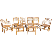 Rare Set of 8 Early 19th c American Bamboo Fancy Painted Chairs
