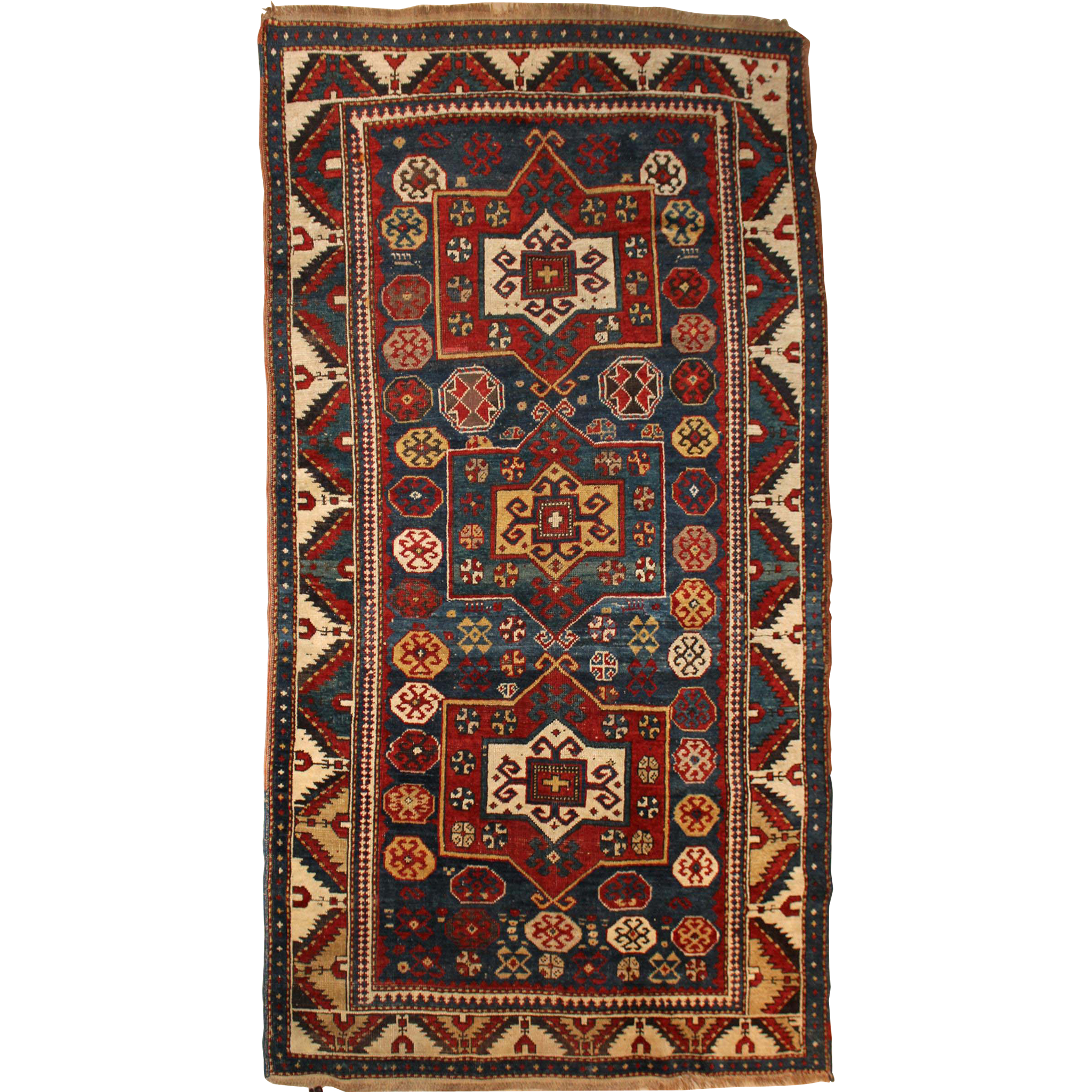 Antique Kazak Scatter Rug or Carpet, circa 1900
