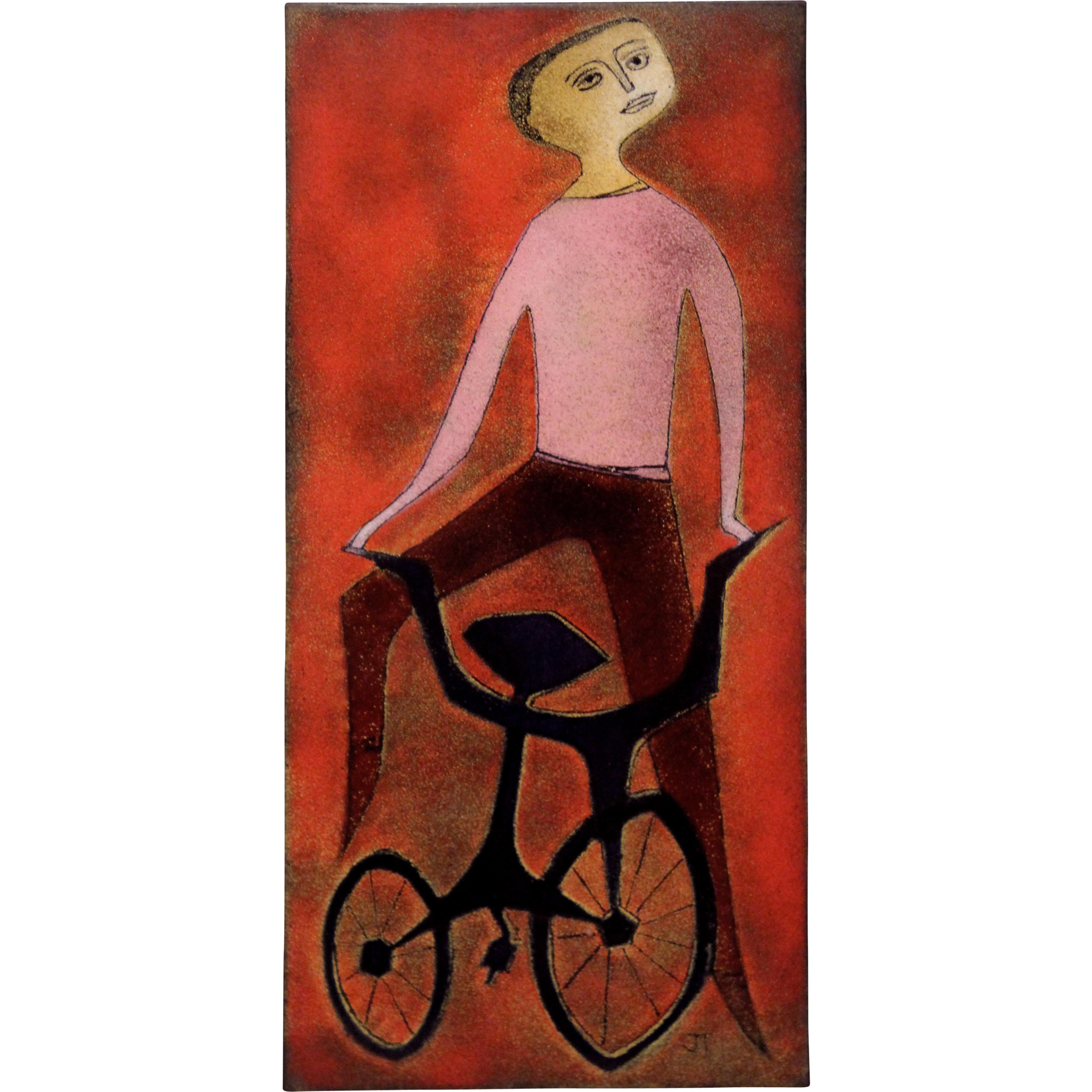 Joseph Trippetti Enamel Abstract Figural Plaque  - The Bicycle