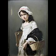 KPM Porcelain Plaque, Hand-Painted Portrait of a Girl