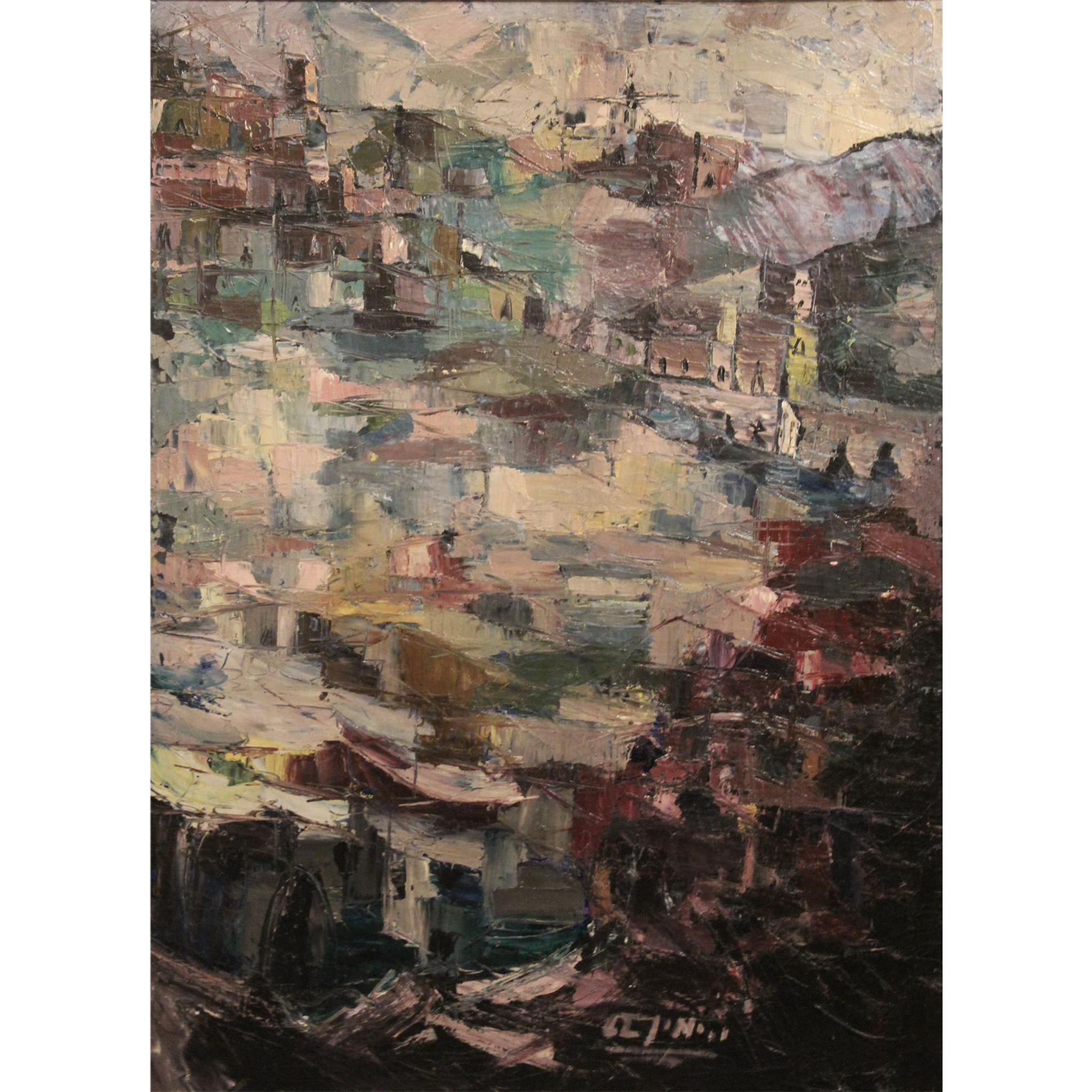 Signed Oil Painting Abstract Cityscape