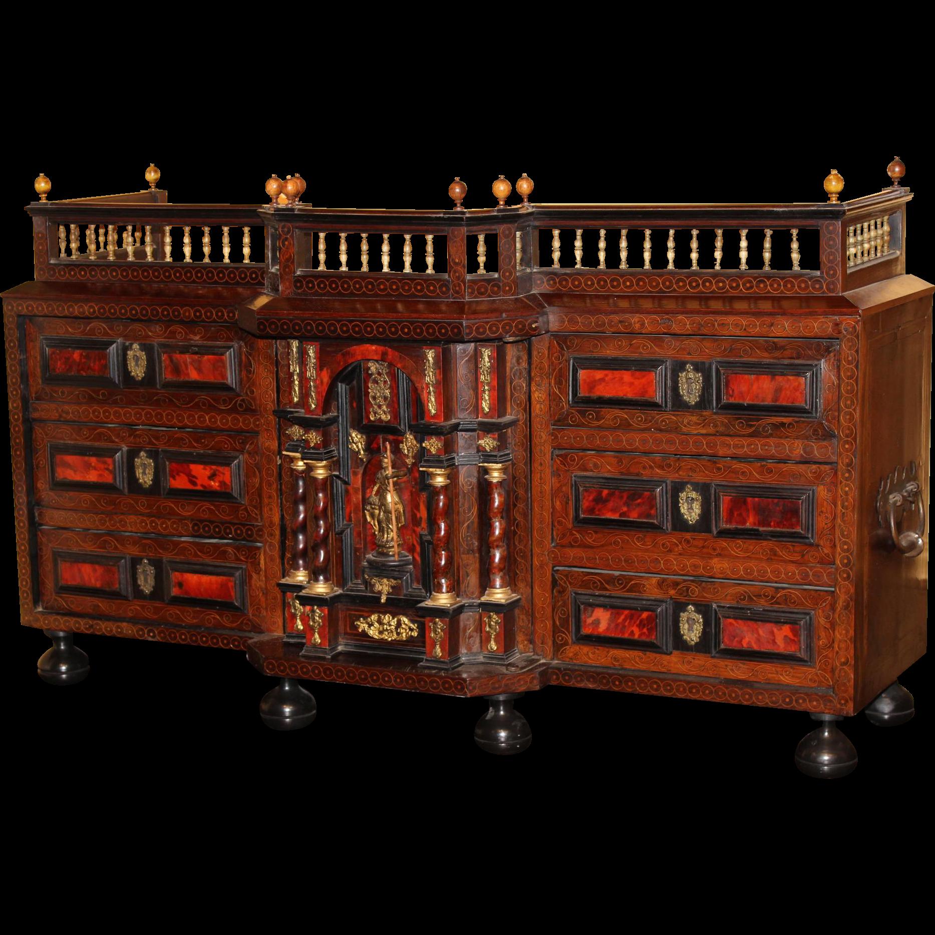 Late 17th c Flemish Ebonized Walnut & Rosewood Inlaid Table Cabinet