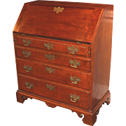 18th c New England Queen Anne Tiger Maple Slant Lid Desk