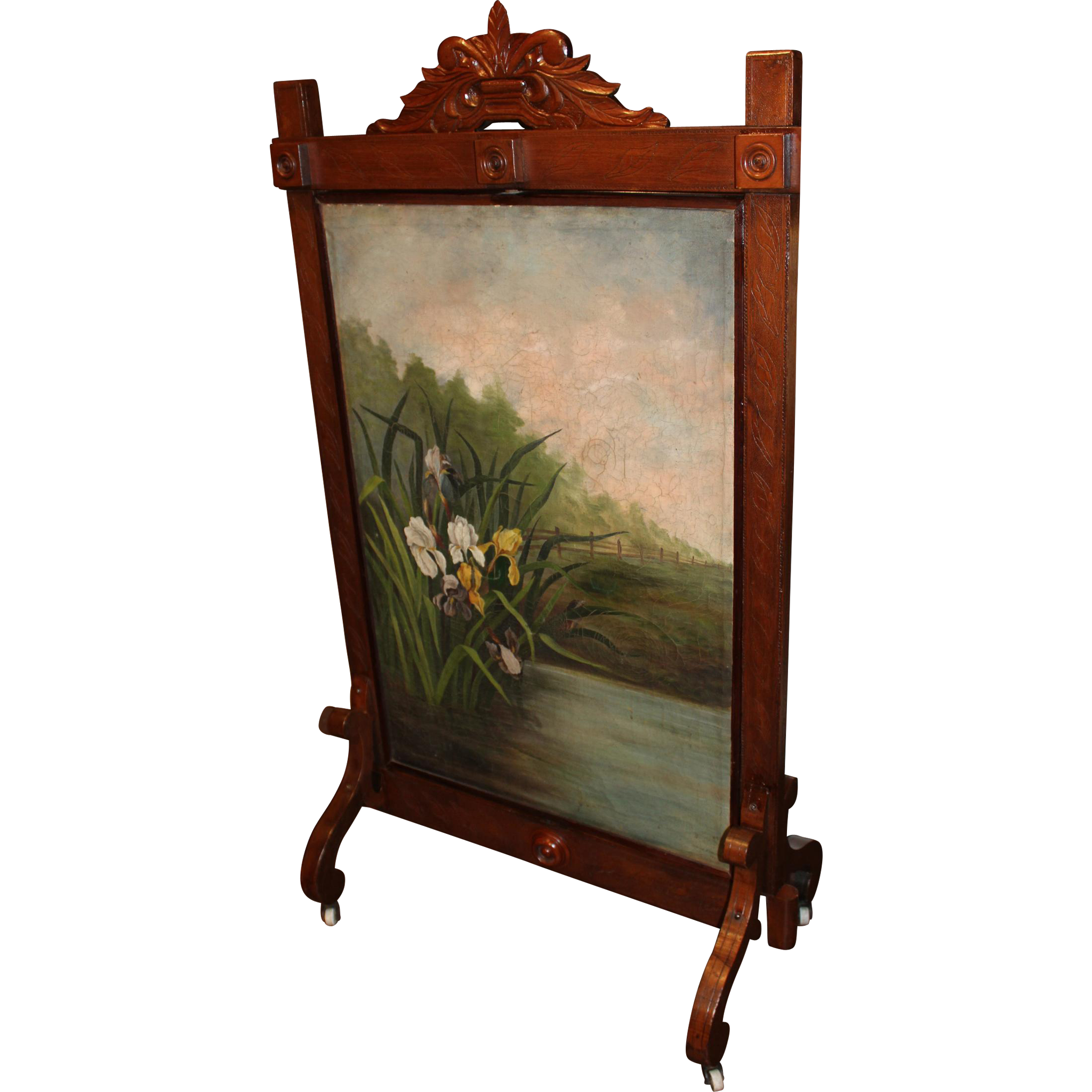 Carved Walnut Rotating Fire Screen with Two Signed Oil Paintings circa 1887