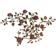 Iron Polychrome Floral Wall Sculpture with Roses