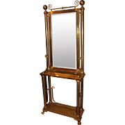 Brass Bound Hollywood Regency Half Length or Pier Mirror on Console Stand