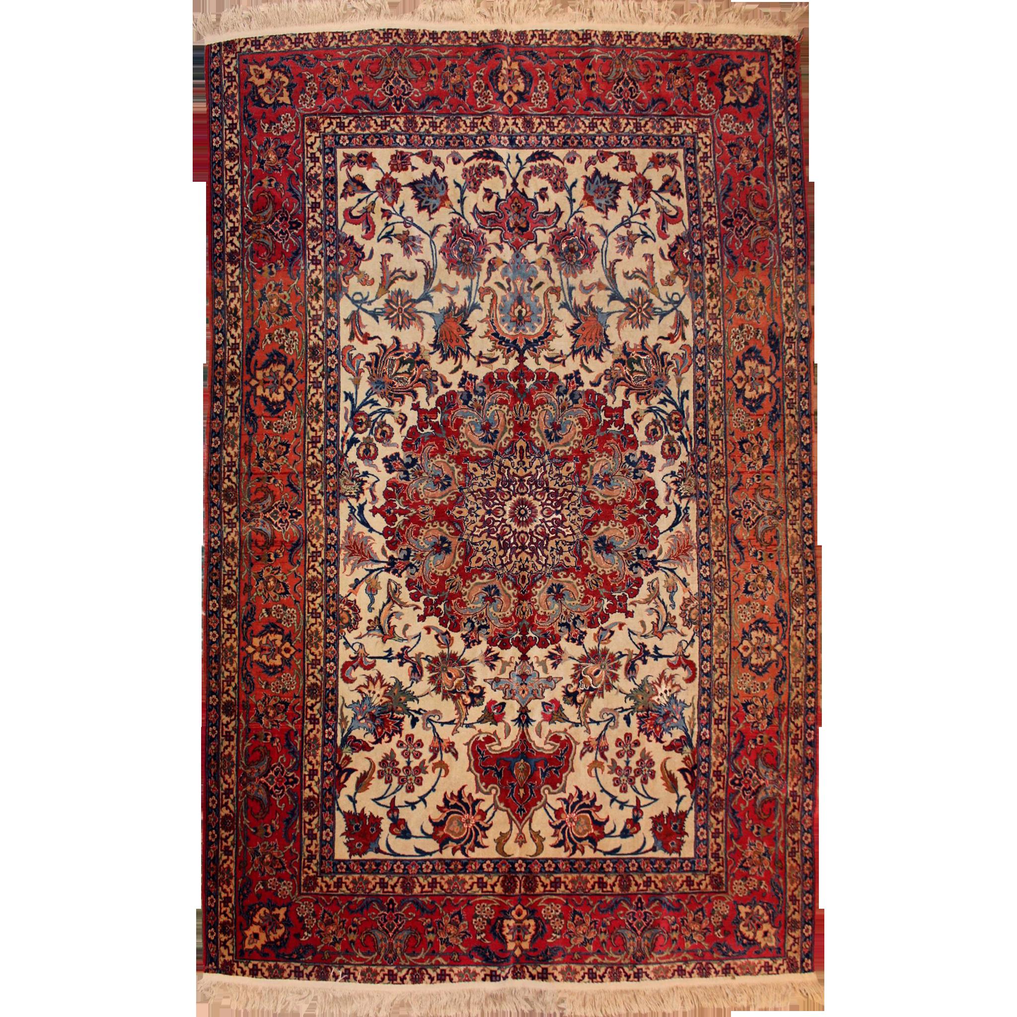 Fine Isphahan Persian Oriental Scatter Rug