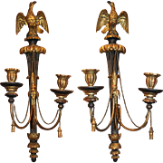 Pair of English Regency Two Light Giltwood Sconces with Eagles