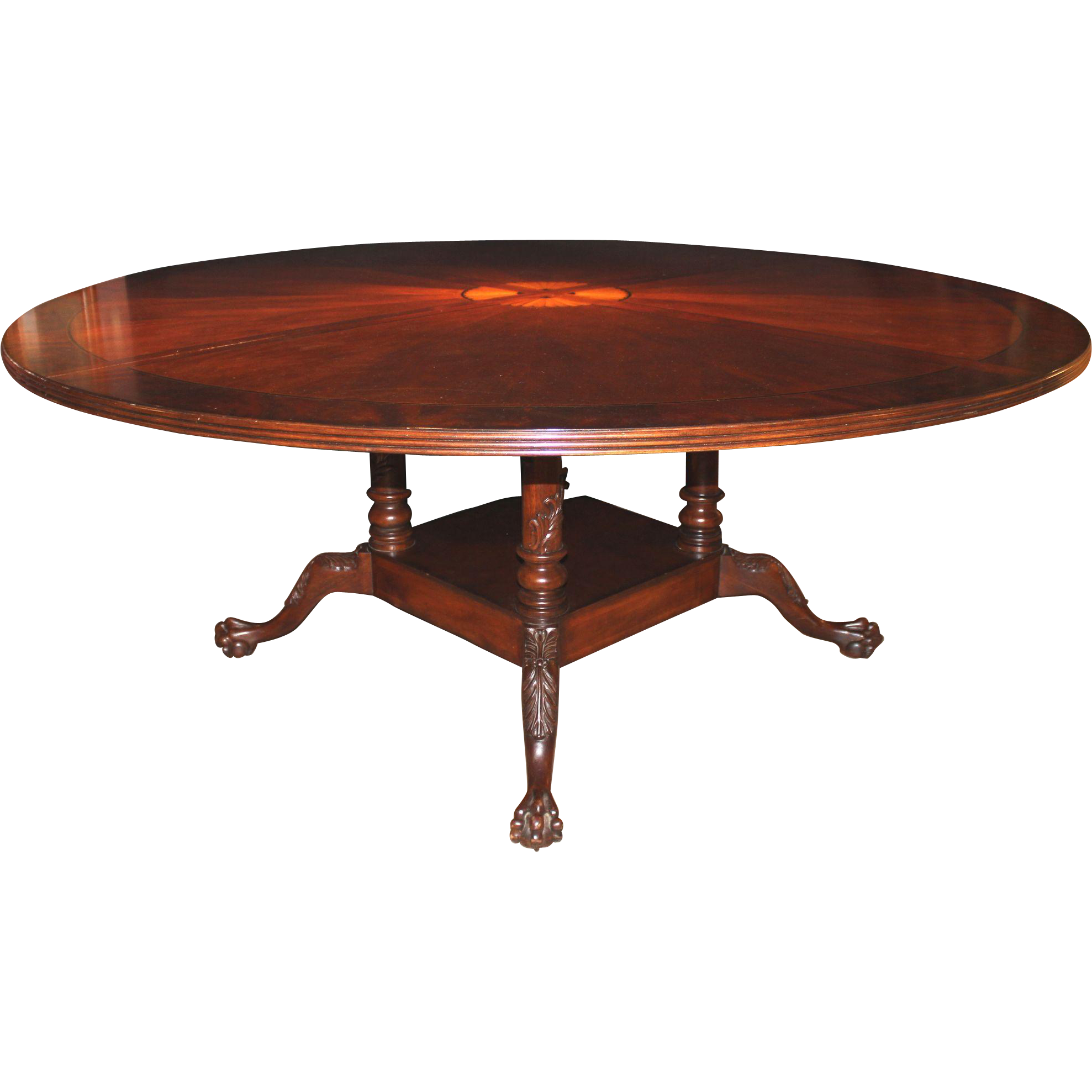 Large Round Mahogany Dining or Center Table with Radiating Fan Inlay