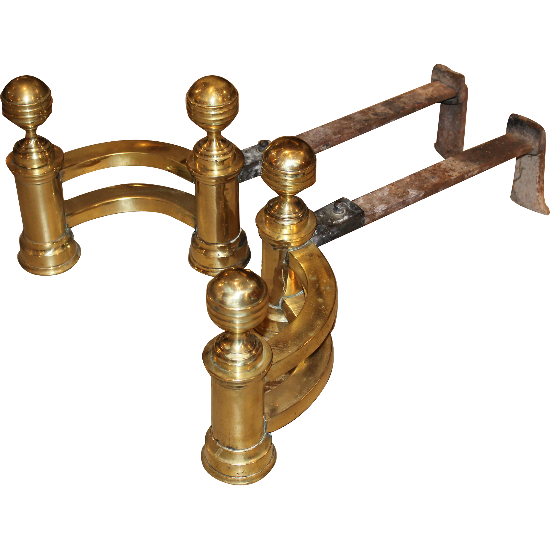 Pair of 19th c Classical Brass Belted Ball-top Andirons