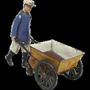 Lehmann German #560  Mechanical Tin Toy Tap Tap Gardener with Cart circa 1903