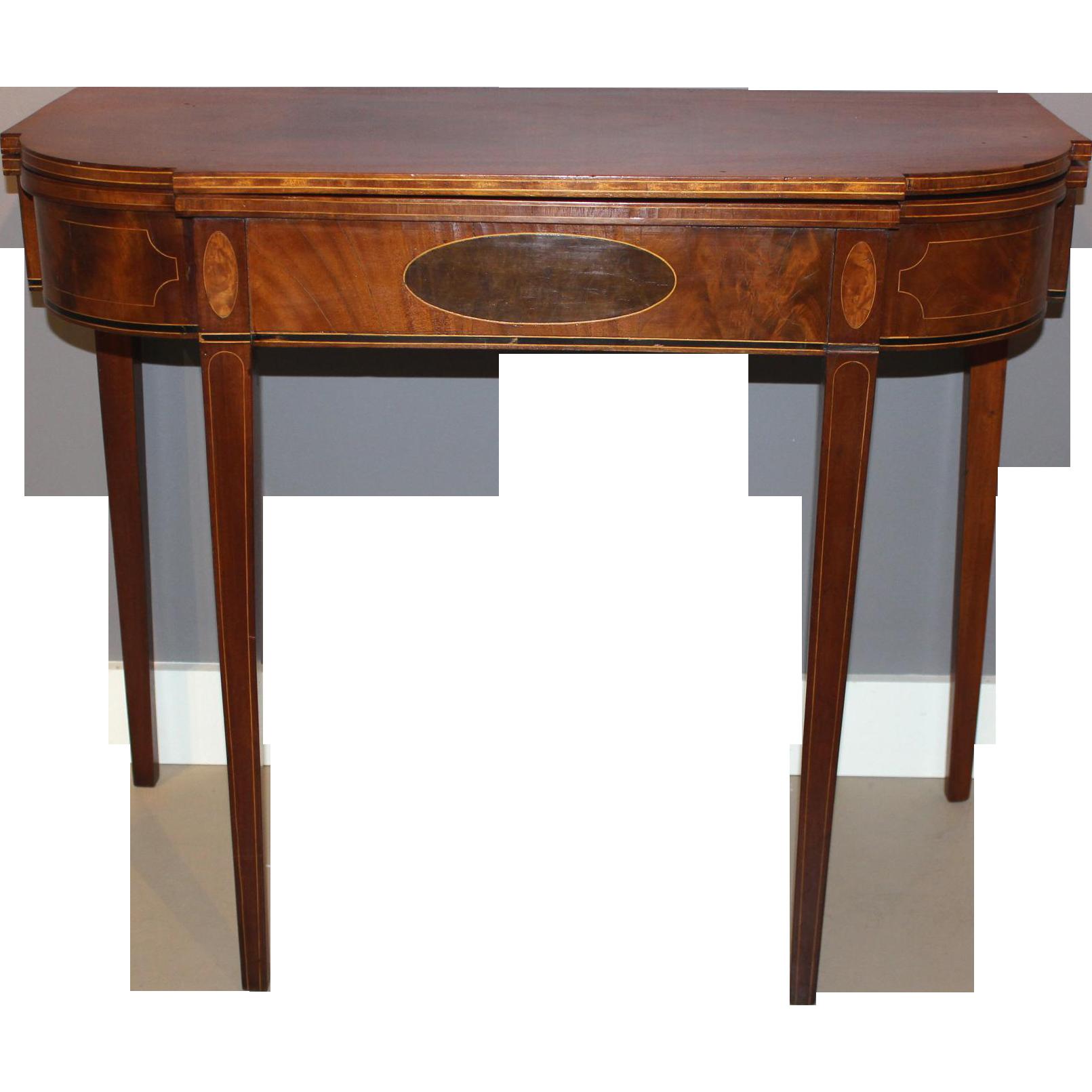 Hepplewhite Mahogany Card or Gaming Table with Inlay circa 1790-1820