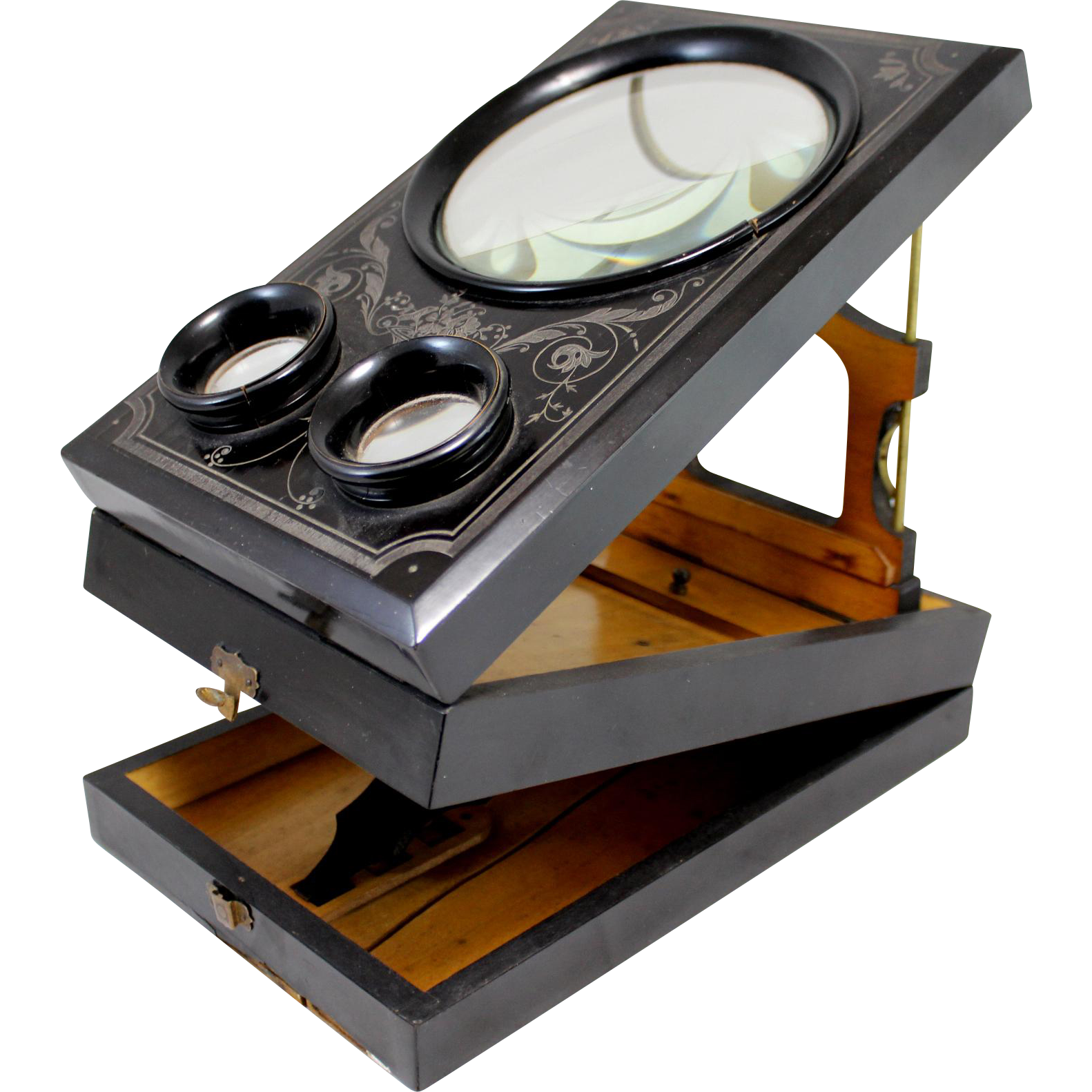 19th c French Black Lacquered Stereo Graphoscope