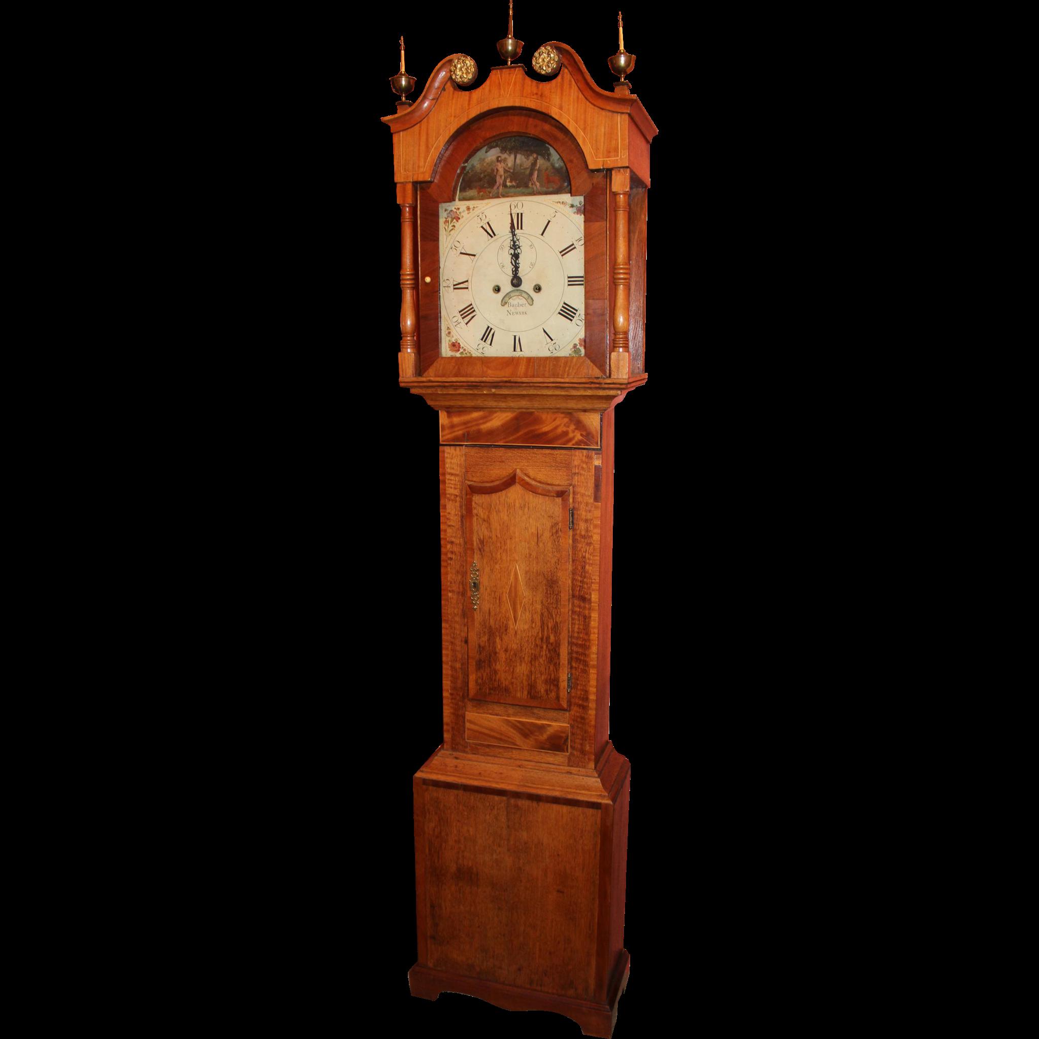 18th c English Tall Case Clock with Rare Automaton Adam & Eve Movement