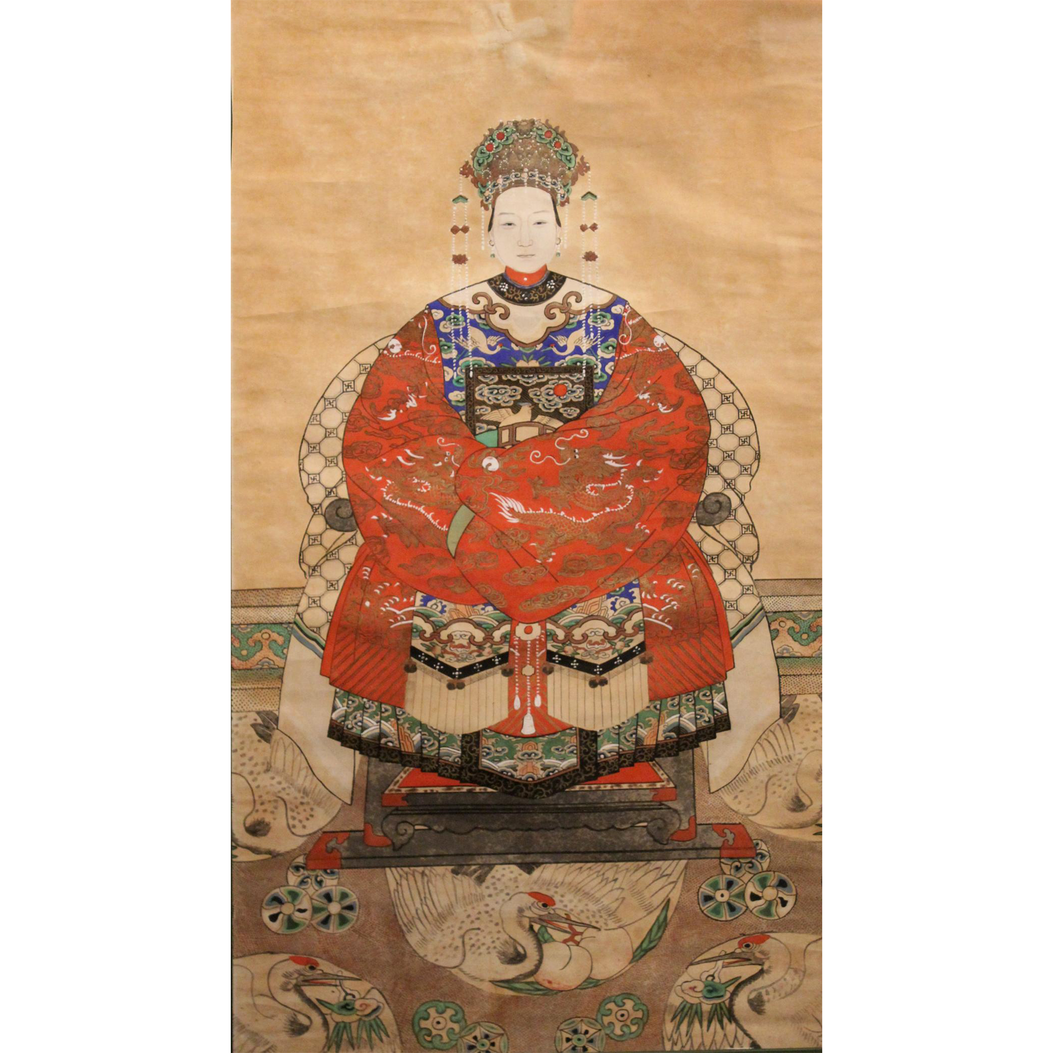 19th / 20th c Chinese Ancestral Portrait Watercolor Gouache