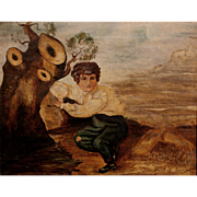 19th c Signed English Oil Painting of a Boy with a Tree