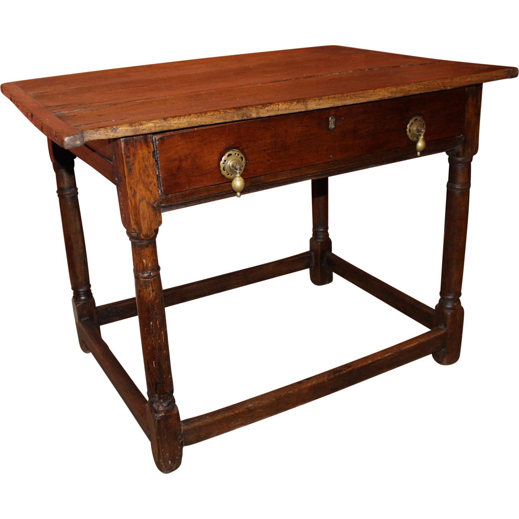 18th c English Oak One Drawer Tavern Table